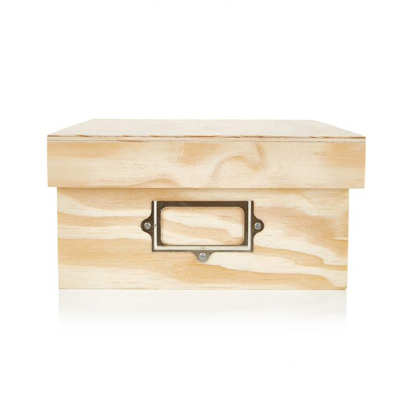 A4 Storage  Box with lid and Label - Natural- Wood