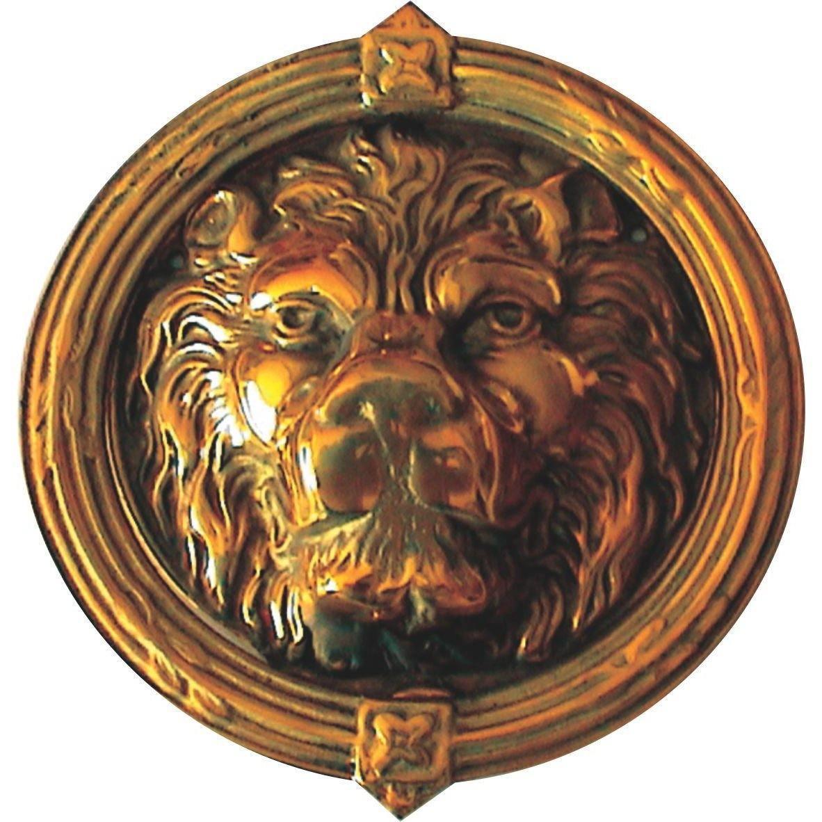 Lion head door knocker - brass