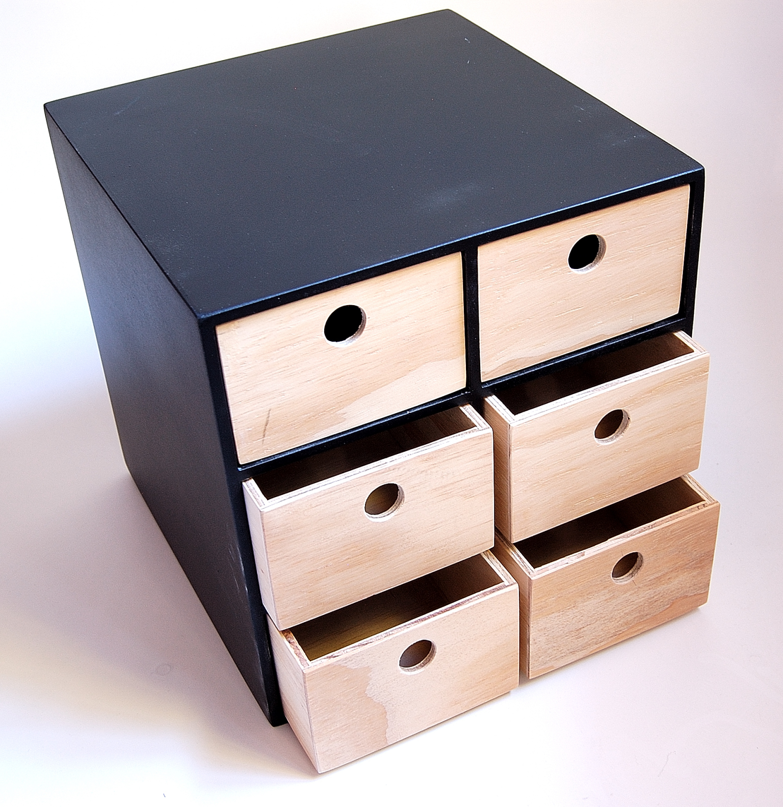 6 Drawer Utility Storage Box - No Handle - Black Frame - Wood