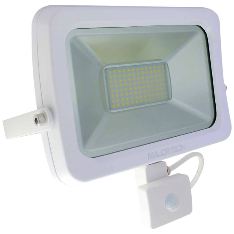 Natural White Outdoor 50W Floodlight with PIR Sensor (SLF50CW) - Major Tech
