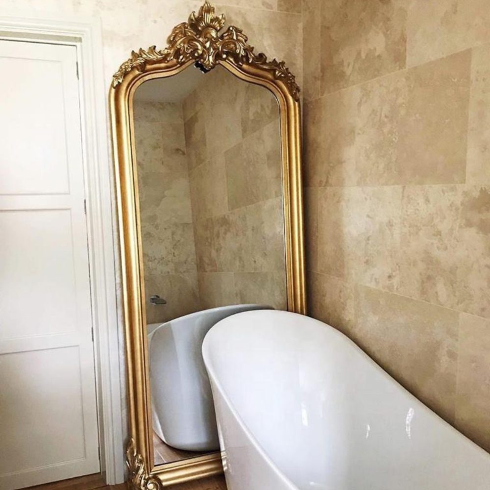 Lifespace Antique Gold Pediment Topped Full Length Mirror