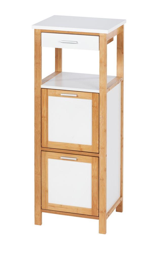 Wenko - Finja Shelf Unit W/ 2 Compartments + Drawer - Bamboo