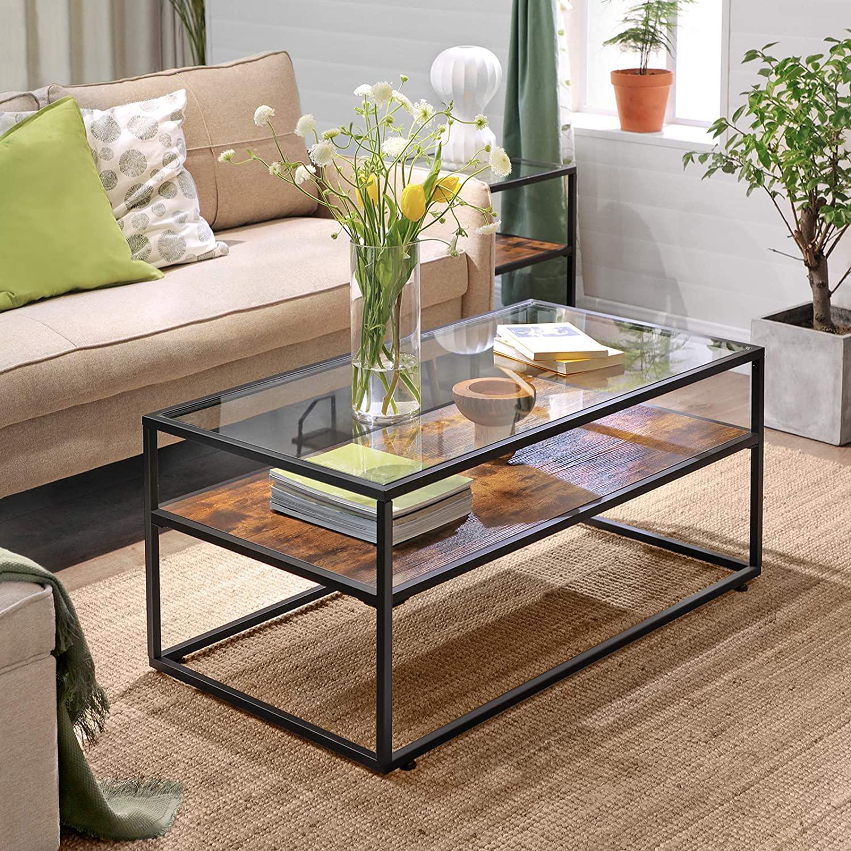 High Quality Modern Wood & Metal Coffee Table