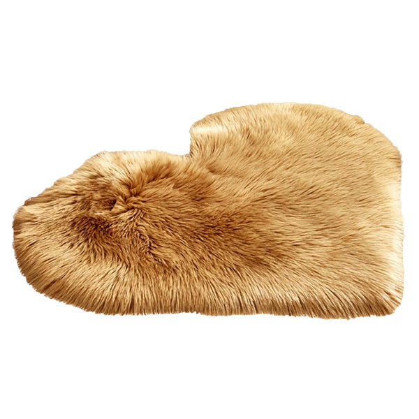 Faux Fur Heart Rug (70cm x 90cm) - Light Ash Brown