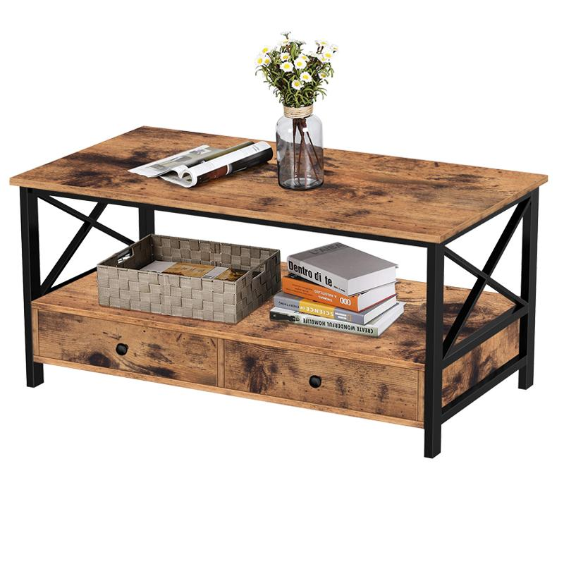 Wood & Metal Coffee Table with Drawers & Storage Shelf