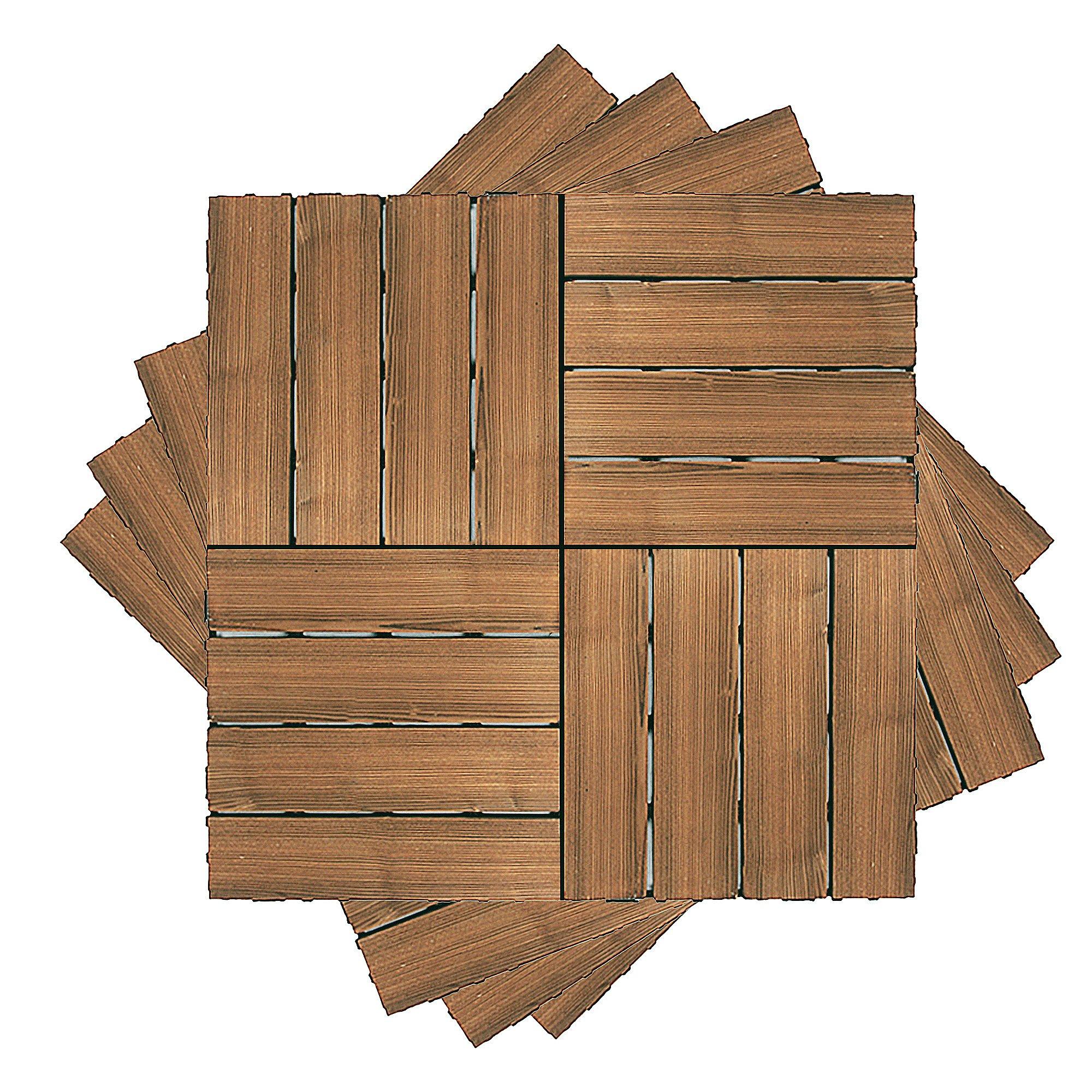 16Pcs Patio Deck Interlock Wood Flooring Tiles