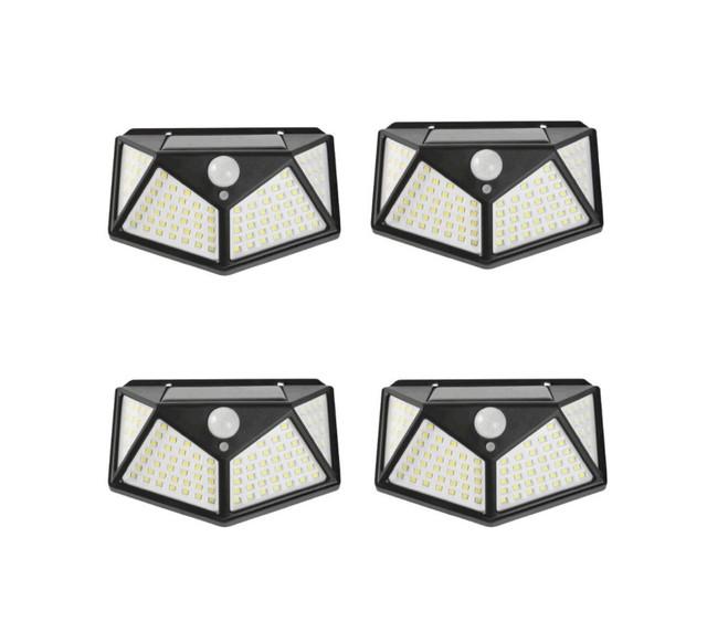 4PCS 100 LED Solar Powered PIR Wall Light With Motion Sensor 100