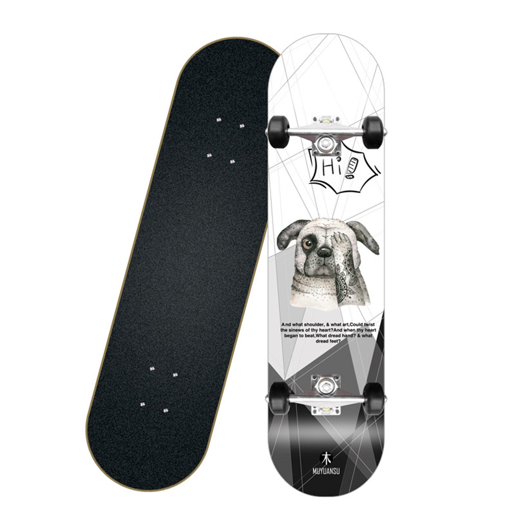 8 Layer Maple Wood Deck Skateboard - Yellow Hexagram