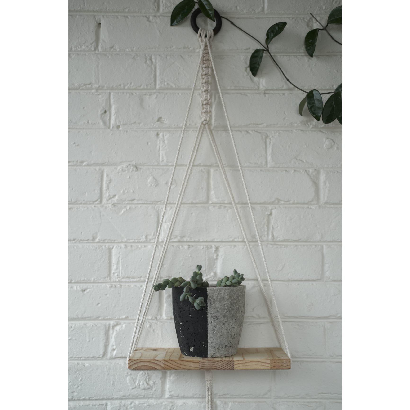 Modern macramé shelf with black plant pot