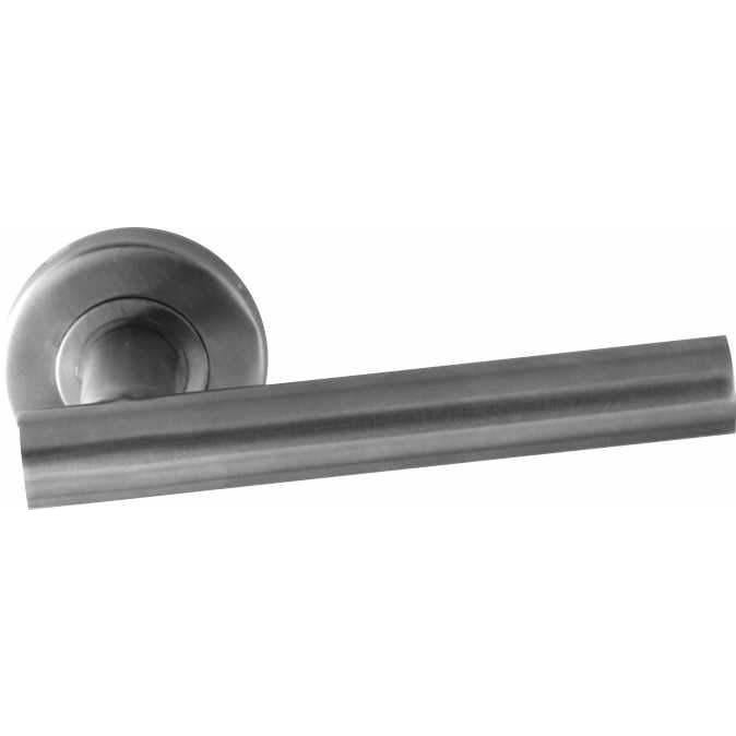 Stainless steel tubular lever handle on rose with notch