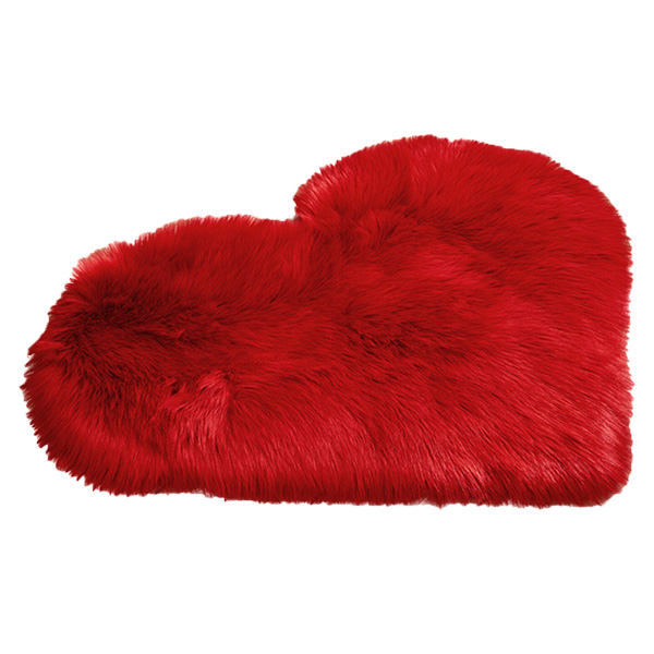 Faux Fur Heart Rug (70cm x 90cm) - Red