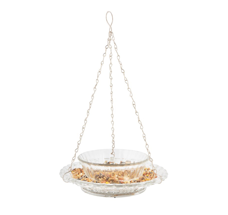 Hobnail Glass Double Bowl Birdfeeder - Clear