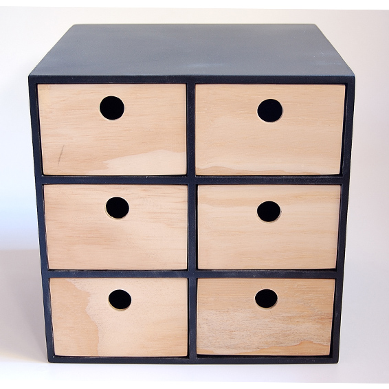 3 Drawer wooden  Storage Unit with Labels - Black Frame