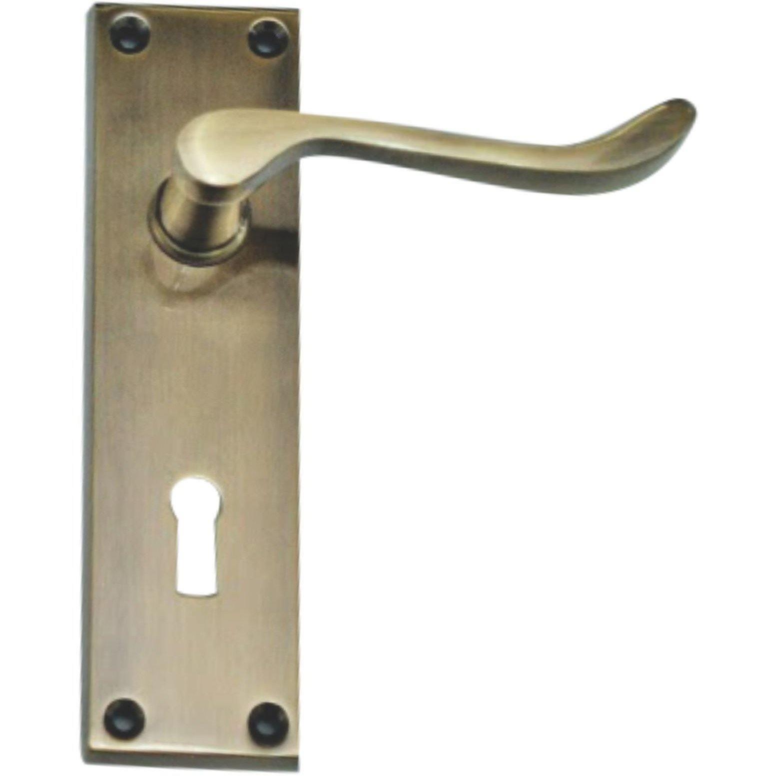 Antique Brass Door Handles - Lever Handle on Plate