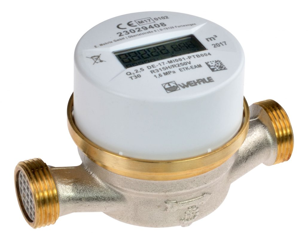 EDT WEHRLE HOT Water Meter - Single-Jet Dry Meter WECOUNT 1'' (32mm), Excluding Remote USB walk-by/Drive-by Antenna Receiver for OMS reading