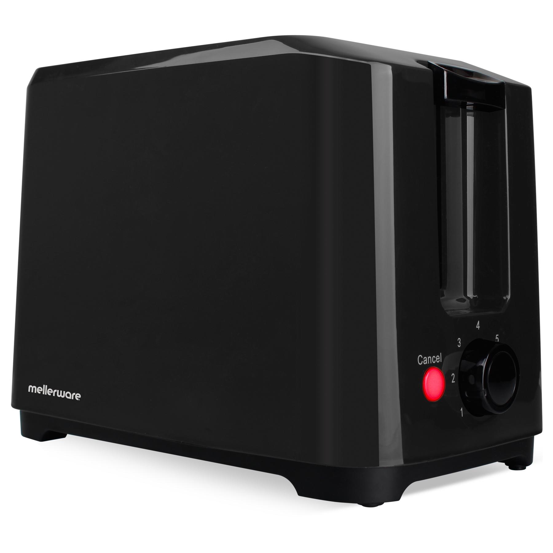 Mellerware Toaster 2 Slice Plastic Black
