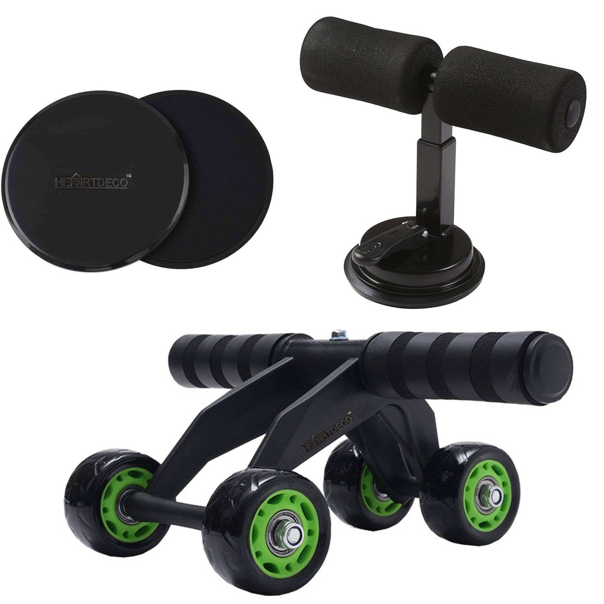 Abs Roller Wheel, Suction Cup Sit Up Bar & Core Sliders Set