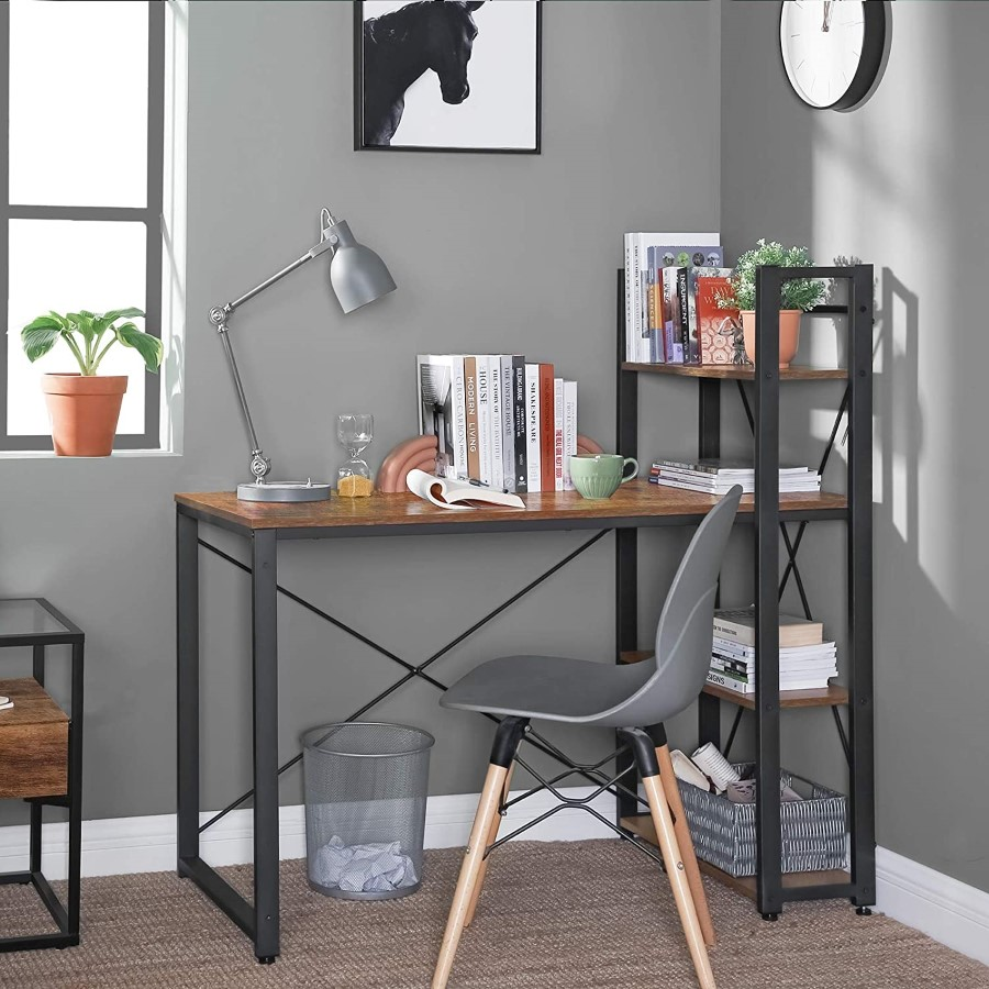 Home Office Industrial Computer Desk with Bookshelf