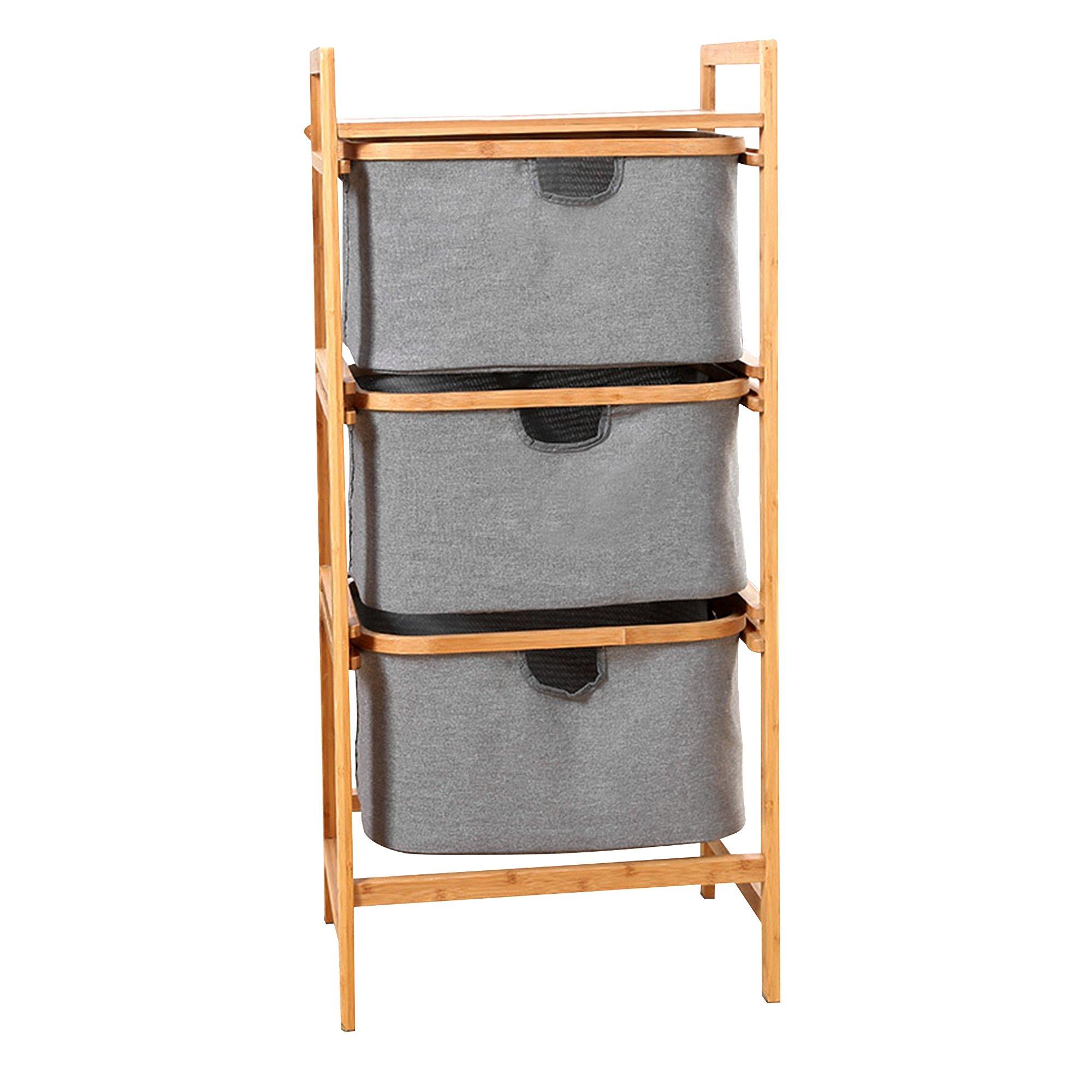 Bamboo Dresser Storage Unit with Sliding Drawers