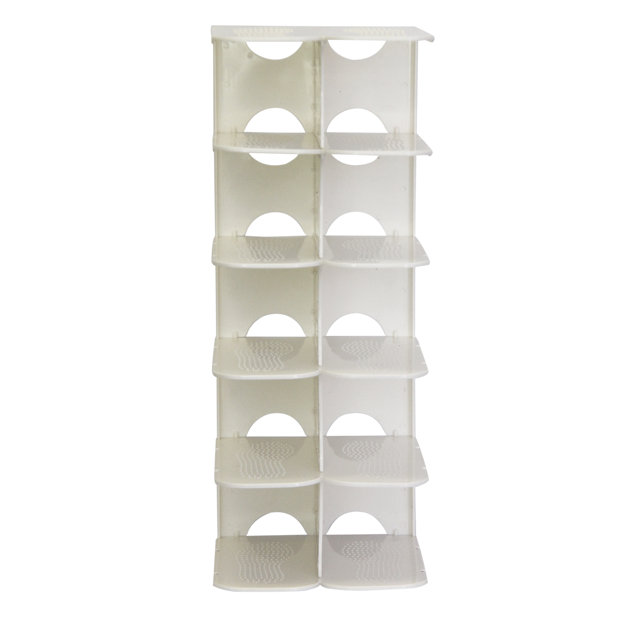 Pillar 6 Layer Shoe Rack - White