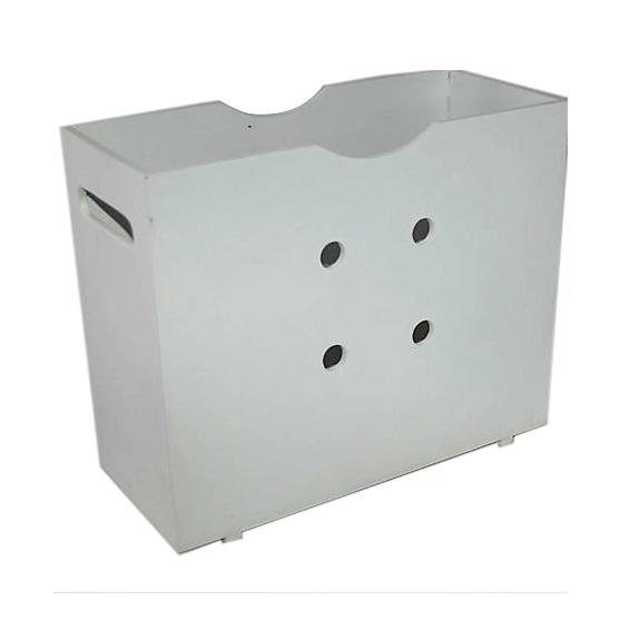 Magazine Holder With Holes - Painted - White- Wood