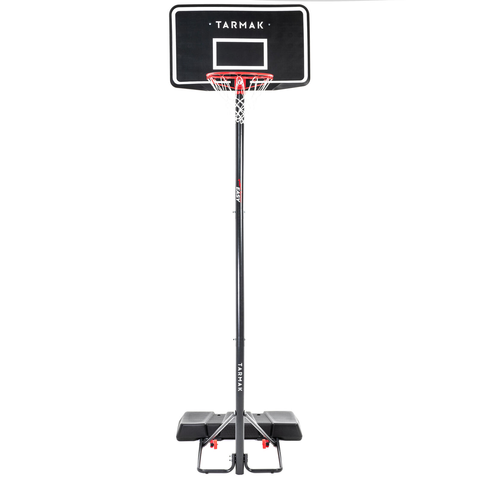 Basketball hoop stand black adjusts from 2.2m to 3.05m tool-free adjustment