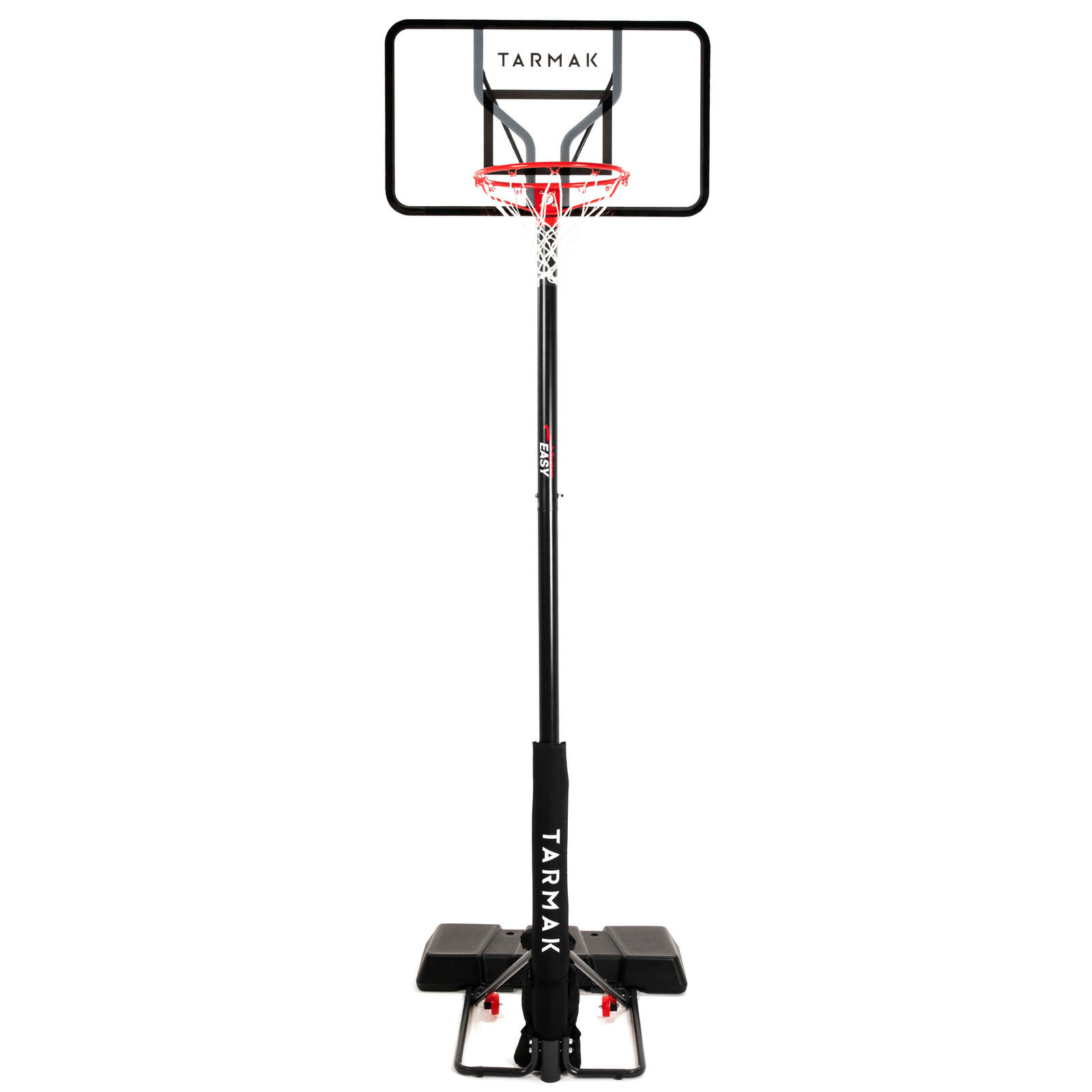 Polycarbonate basketball hoop stand black adjusts from 2.2m to 3.05m