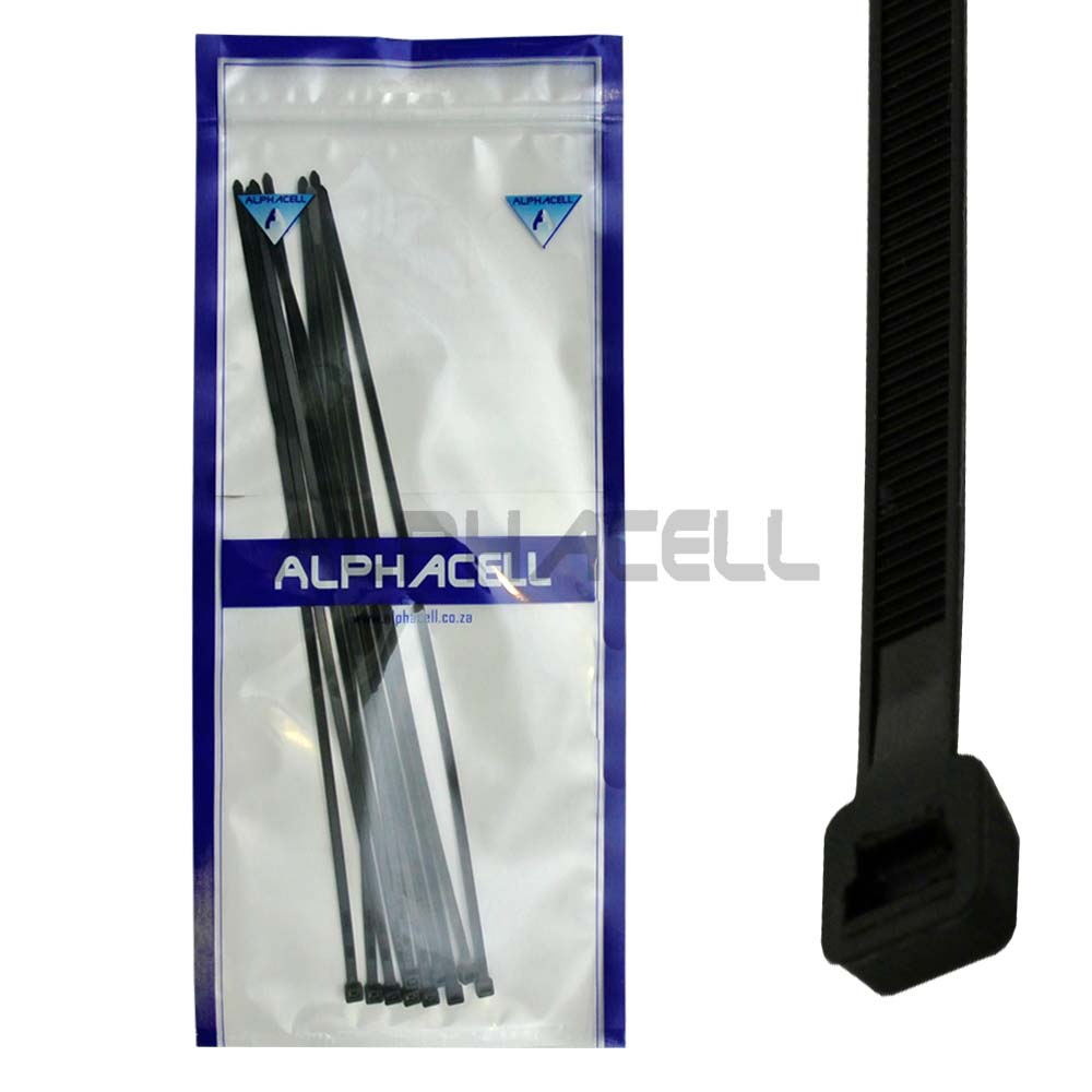 CABLE TIE - 370mmx4.8mm BLACK - 10 pack