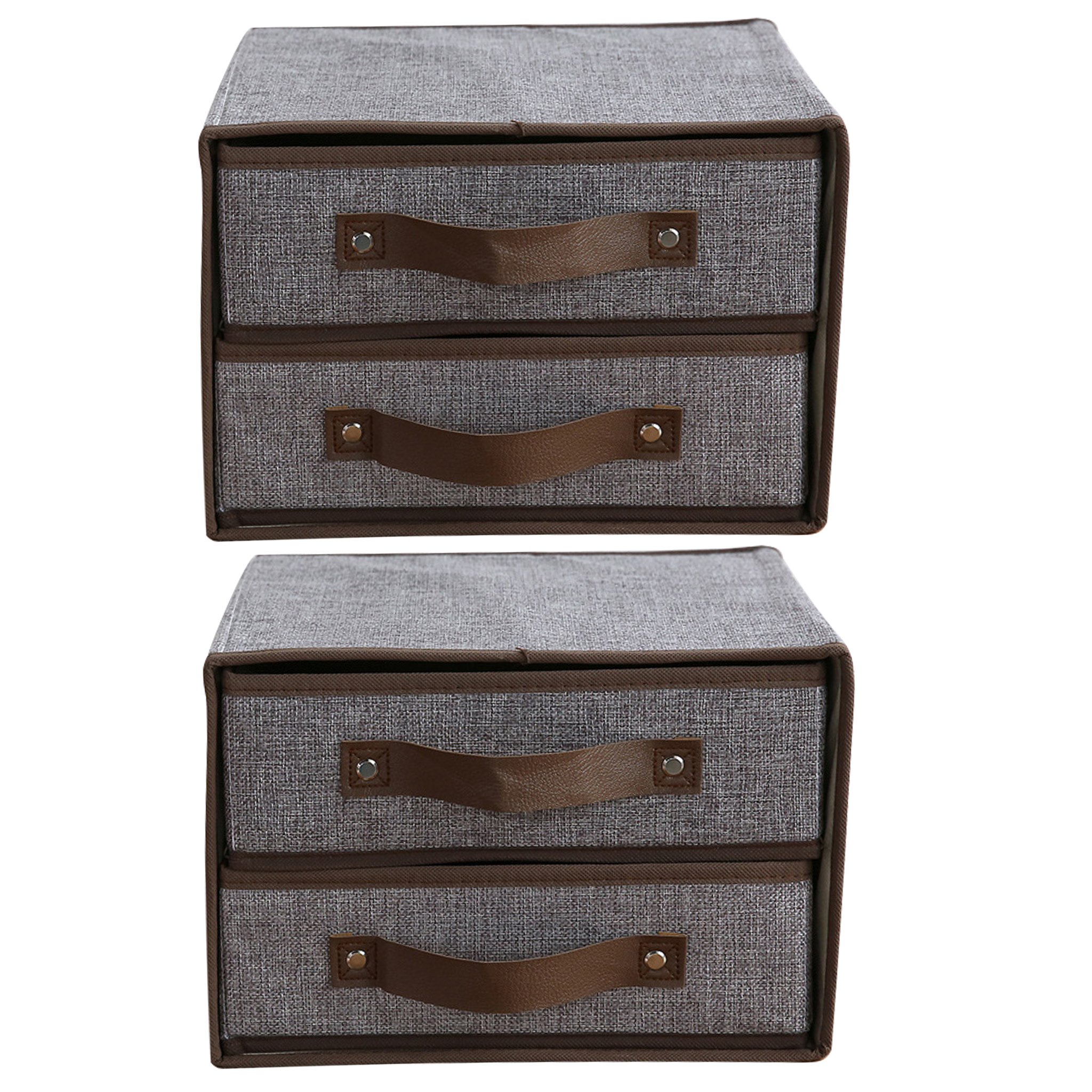 2 Pack Double Drawer Canvas Storage Box