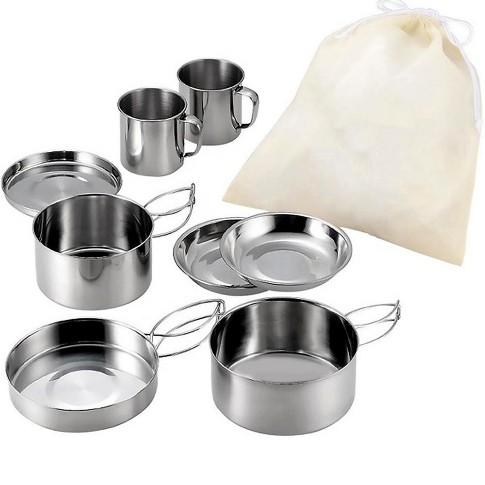 8pcs Stainless Steel Camping Cookware Set