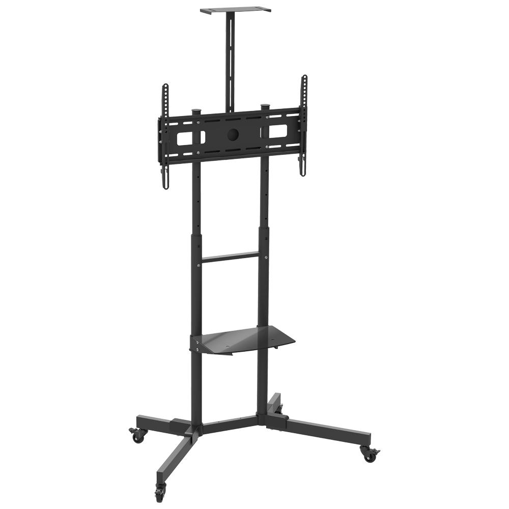 BARKAN Curved TV Cart with Glass Shelf and upper Metal shelf - Tilt vertical