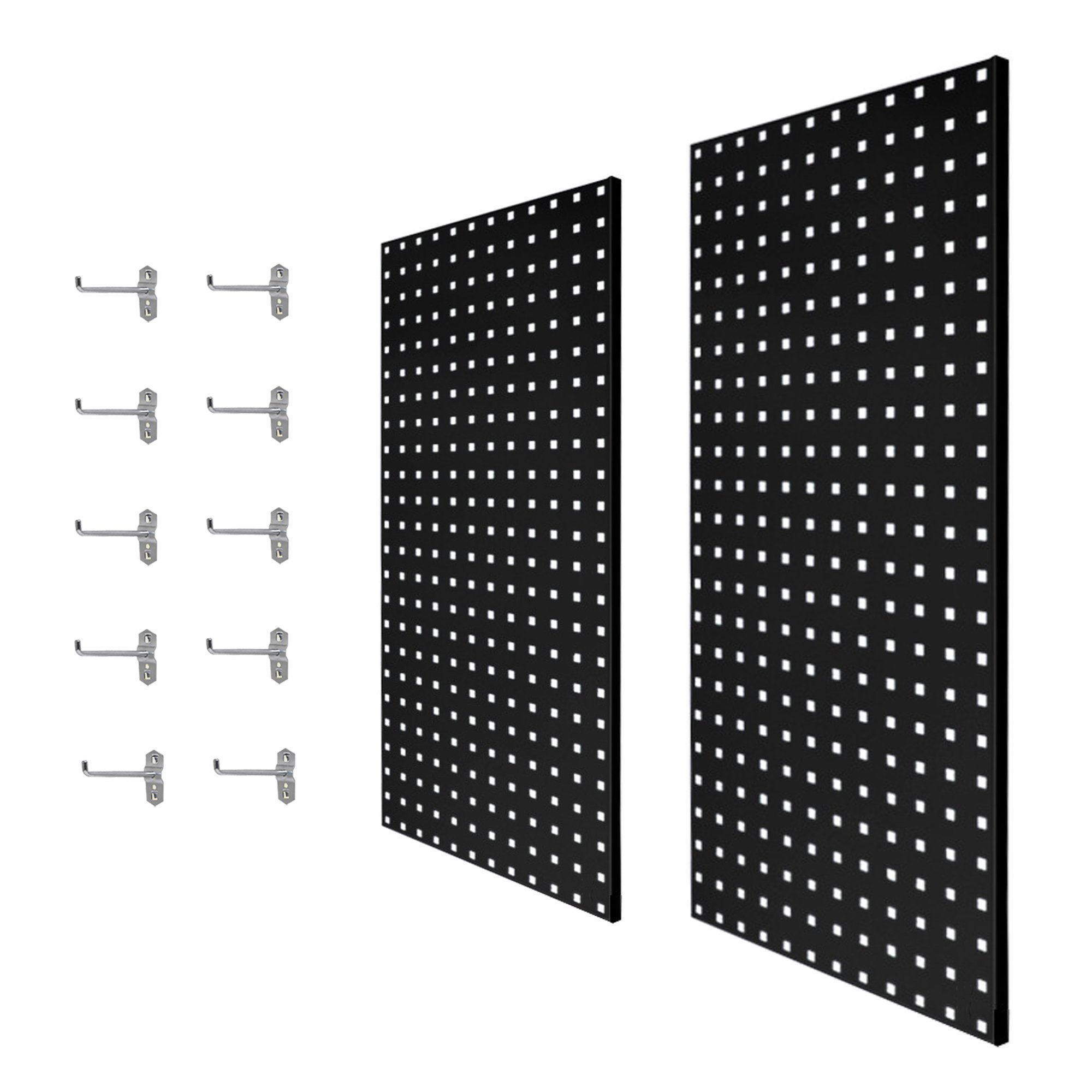 2Pcs Large Wall Mounted Steel Pegboard Panels & 10 Hooks Set