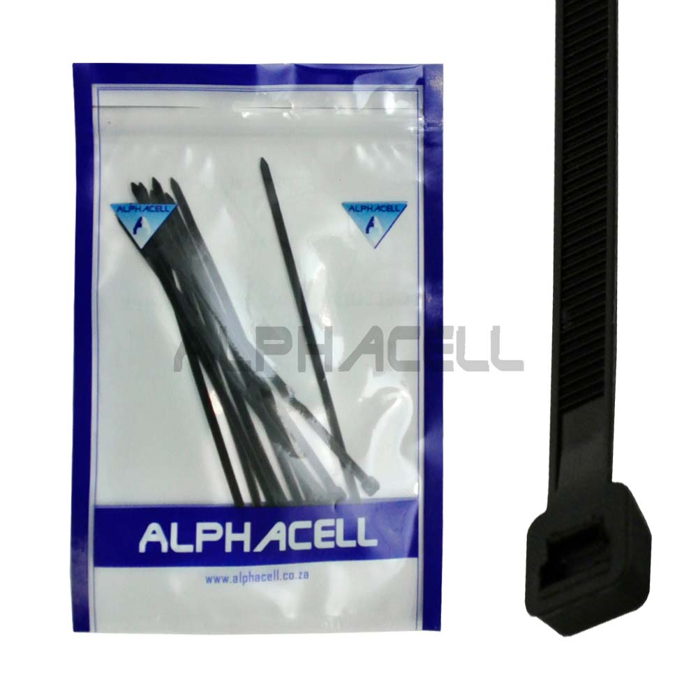 CABLE TIE - 200mmx4.8mm BLACK - 10 pack