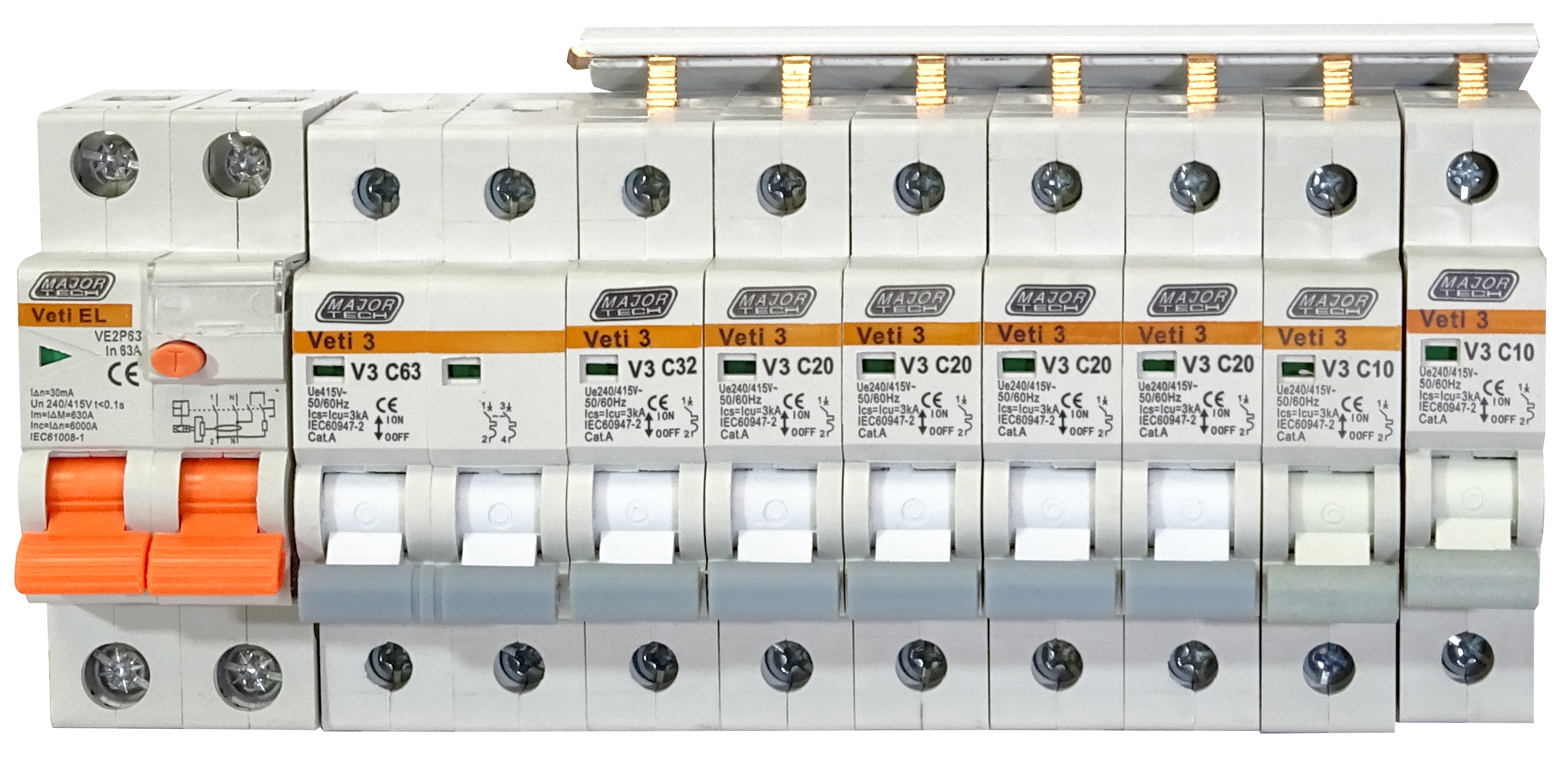 Circuit Breaker Kit with 6 Teeth Busbar (V3C-DBK1) - VETi