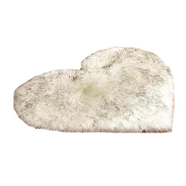 Faux Fur Heart Rug (70cm x 90cm) - White Grey