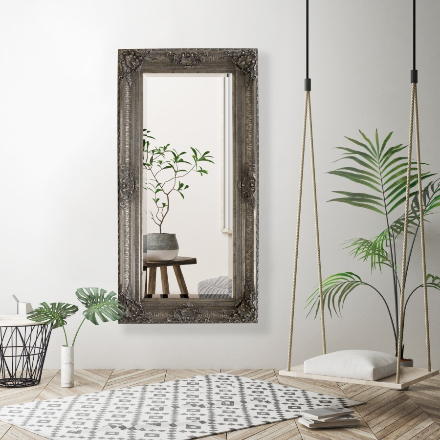 Lifespace Antique Silver Ornate Detailed Bevelled Mirror