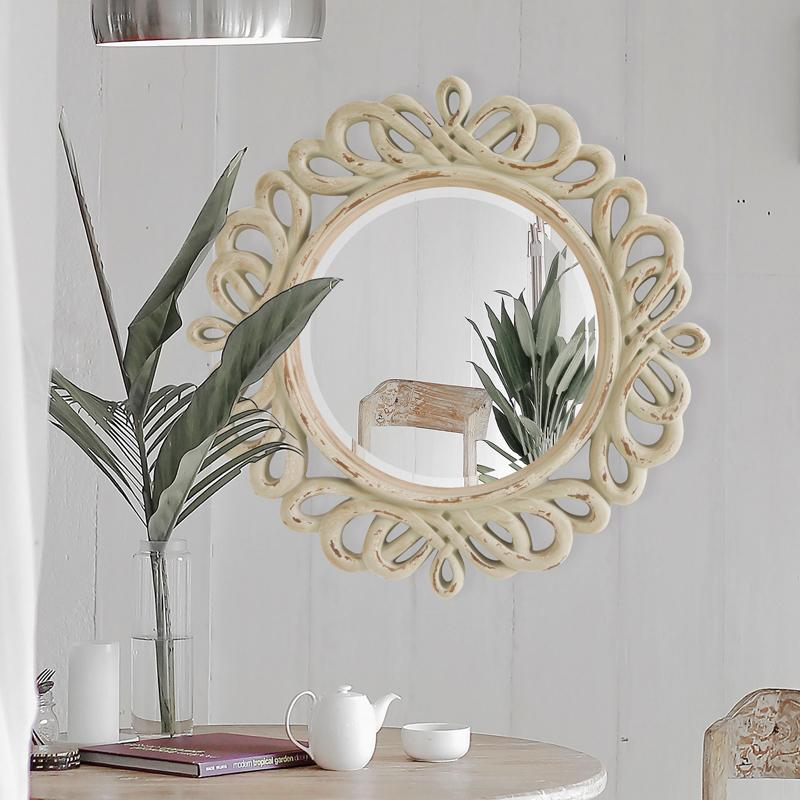 Lifespace Distressed Round Accent Wall Mirror