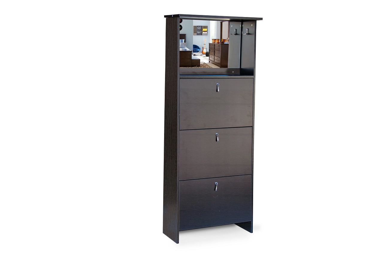 Shoe Cabinet - 3 Tier Mirror Vanity - Wenge