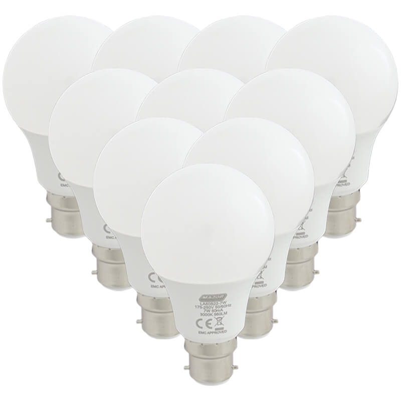 7W LED B22 Pack of 10 Cool White Lamps (LA60E22-7W) - Major Tech