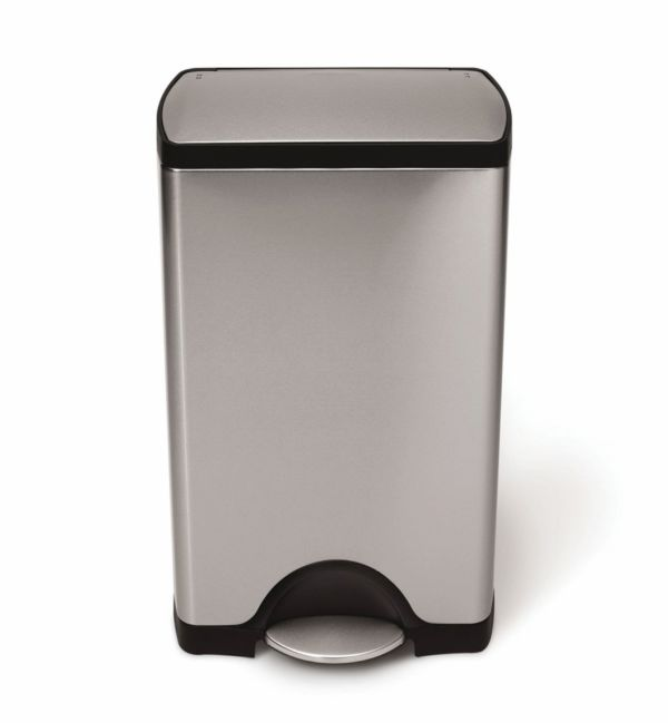 Simple Human - 38L Rectangular Deluxe Pedal Bin - Brushed S/Steel