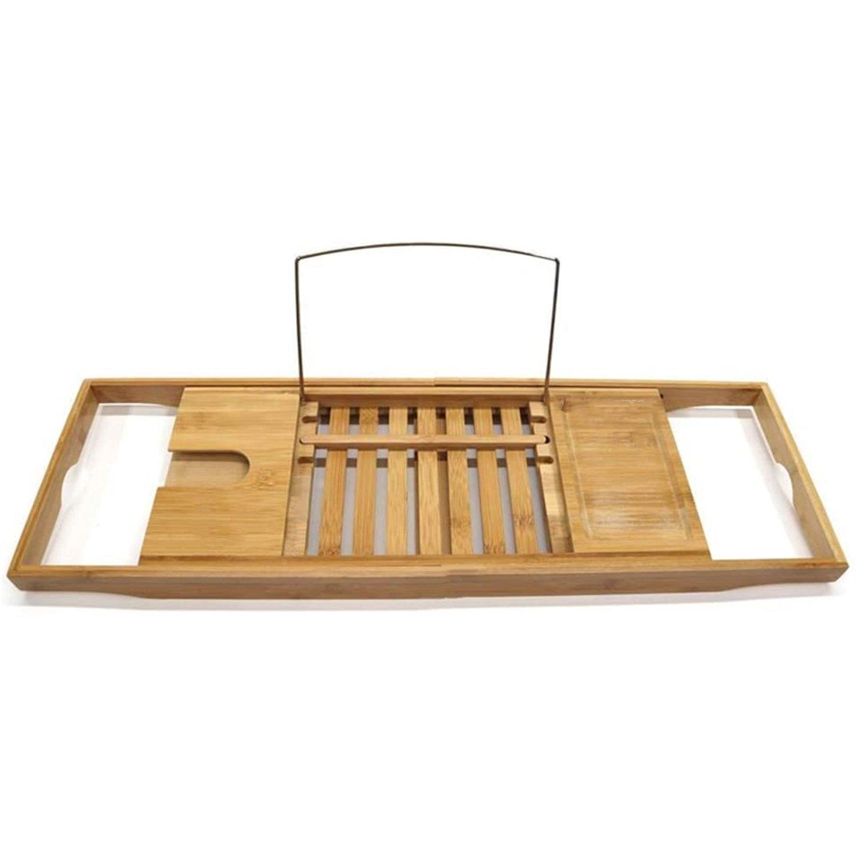Bamboo Expandable Bathtub Caddy Storage Tray