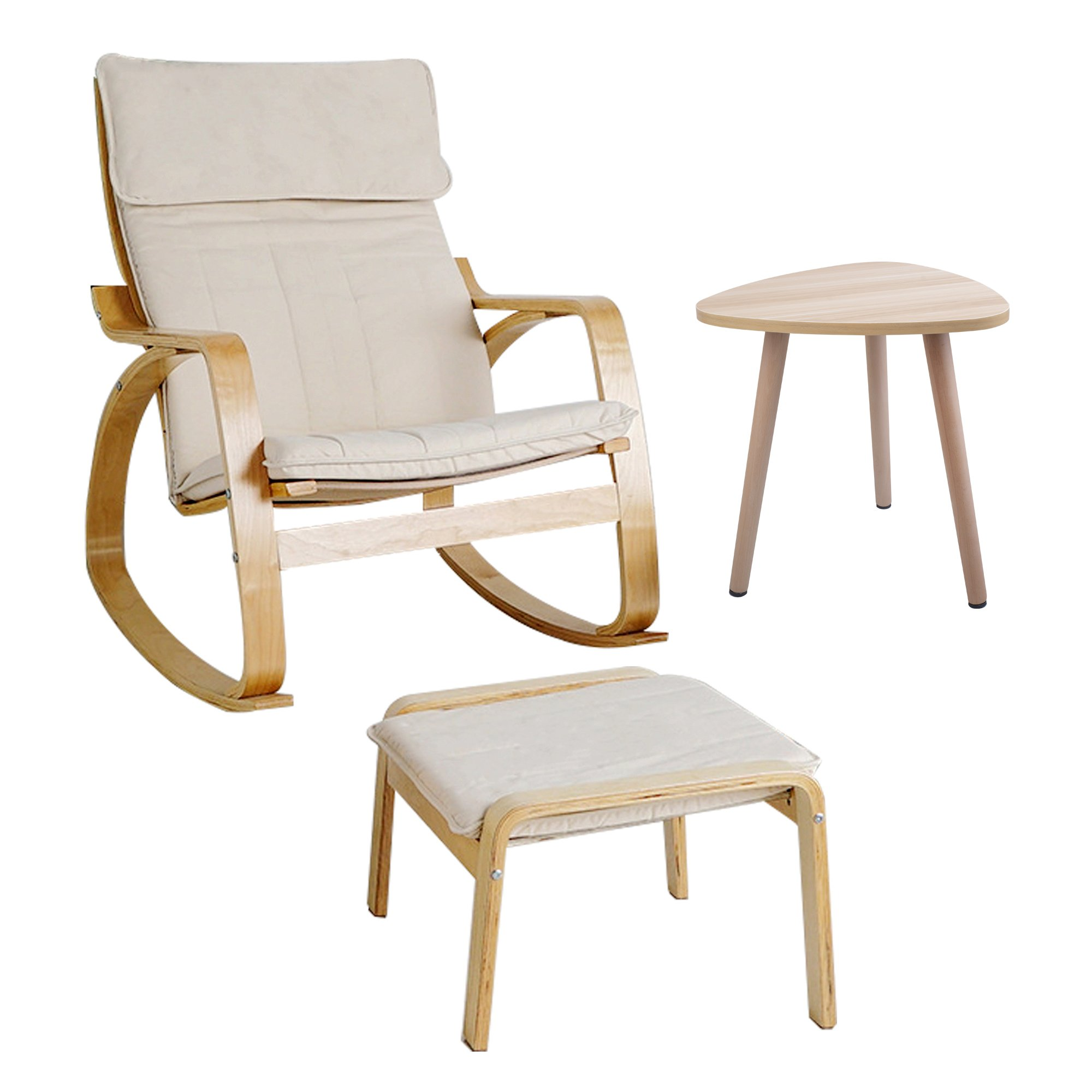 Rocking Chair Footstool Side Table Set