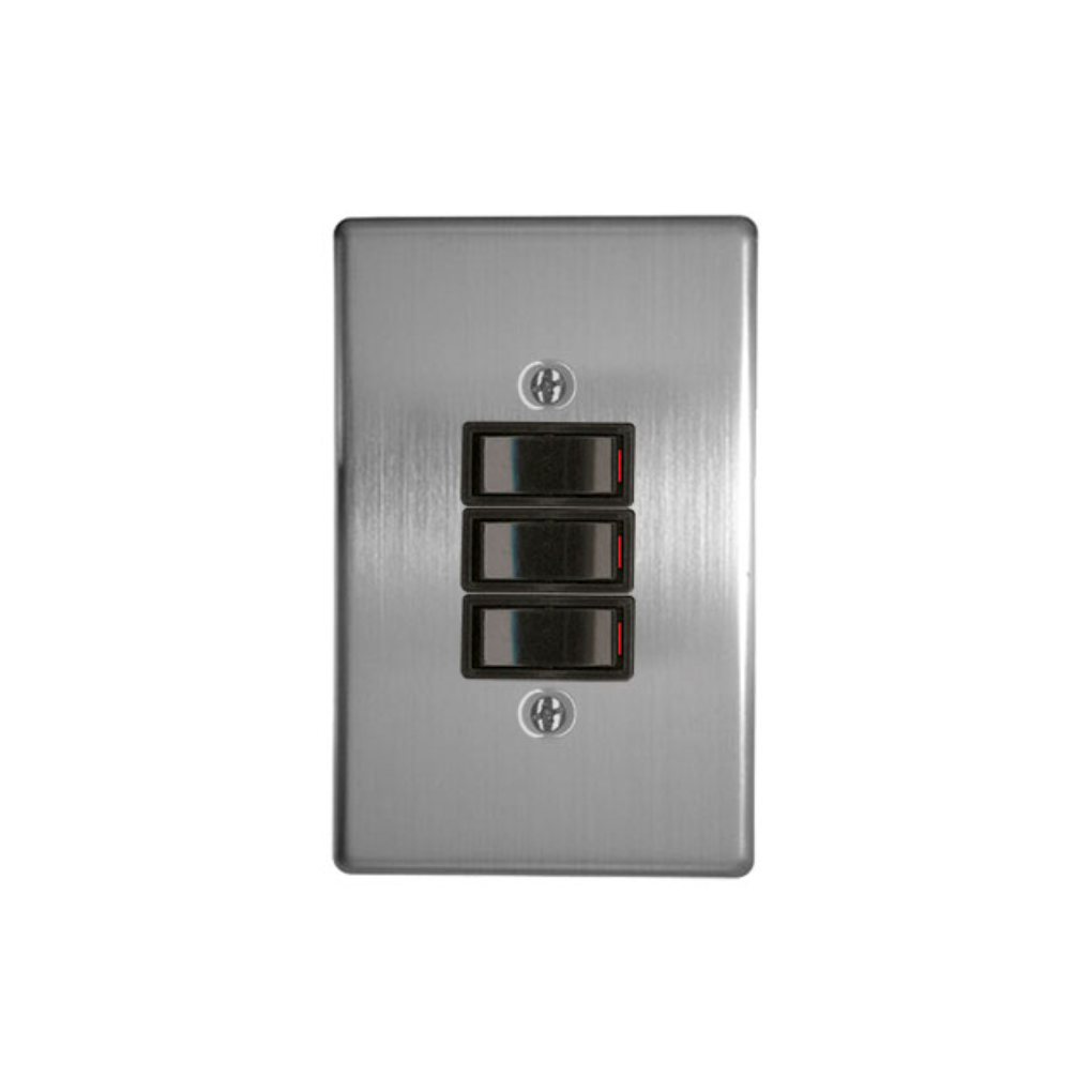 Classic Switches - 2 x 4 3 Lever 1 Way - Silver