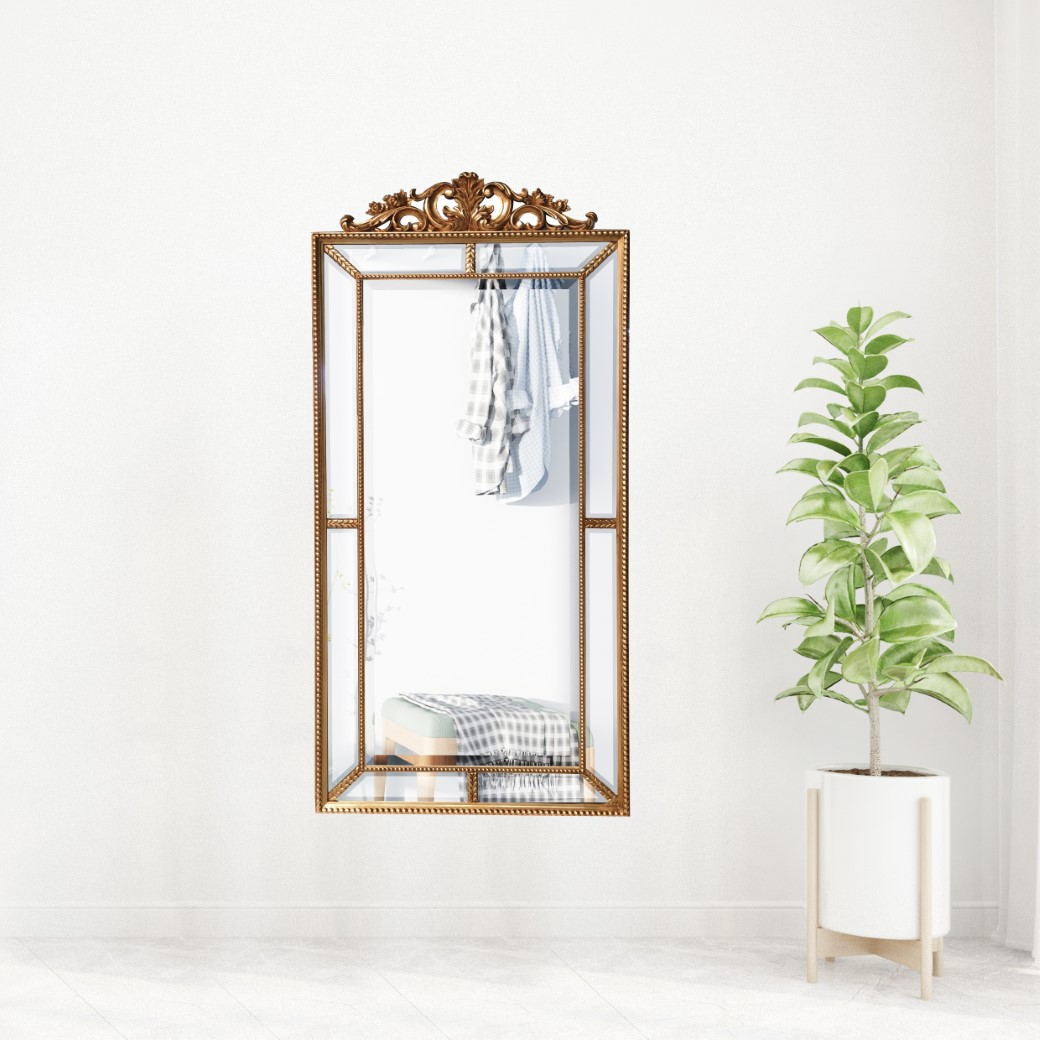 Lifespace Gold Scroll And Heath Topped Bevelled Wall Mirror