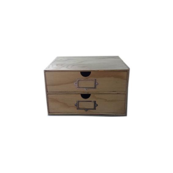 2 Drawer Storage Unit - Natural wood