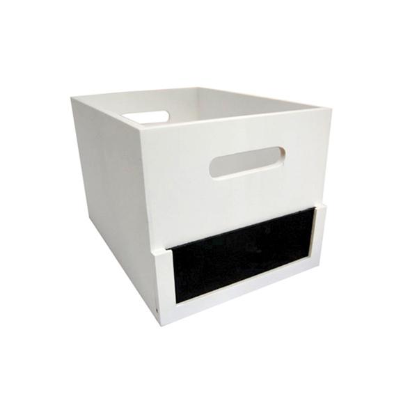 Medium Chalkboard Label Storage Crate - White - Wood