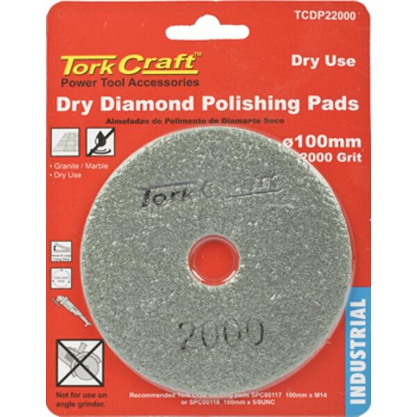 100MM DIAMOND POLISHING PAD 2000 GRIT DRY USE