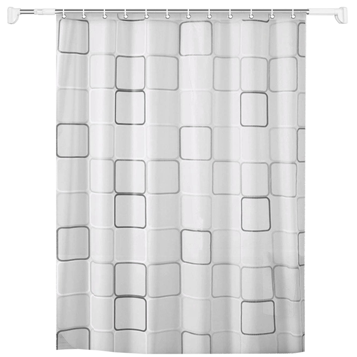Stainless Steel Extendable Rob & Shower Curtain Set