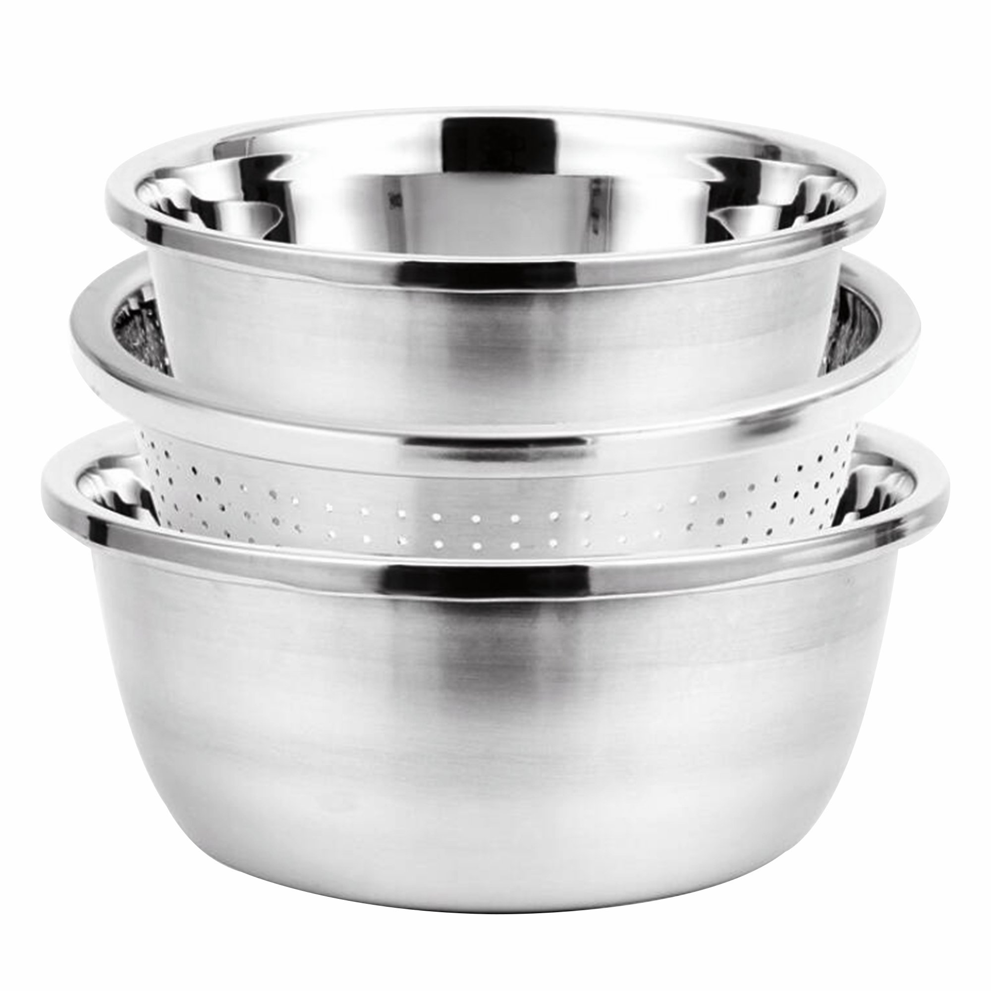 3Pcs Strainer Colander Mixing Bowl Set