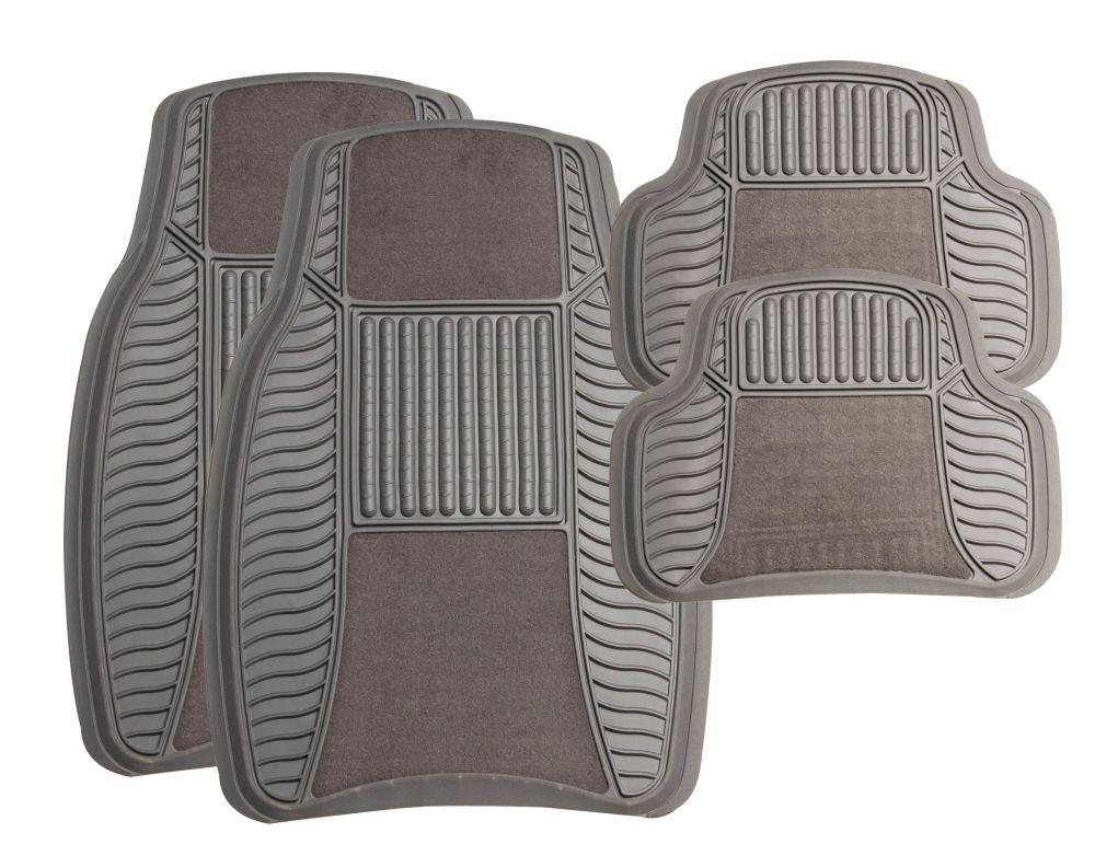 Michelin - 4Pc Rubber/Velour Mat Set - TT8110 (Grey)